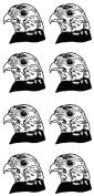 Falcon Bird of Prey 2.5cm - 0.3cm - Black 16CC693 Fused Glass Decals
