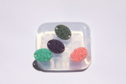 Clear-silicone jewellery rose Oval Cabochon 17X13mm,2 holes- 4 pc. Good for pendant,earrings,bracelet,art,craft.