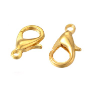Beadthoven 100pcs Zinc Alloy Jewellery Lobster Claw Clasps, Parrot Clasps for DIY Jewellery Makings, Golden Colour, Nickel Free, 12x6mm, Hole