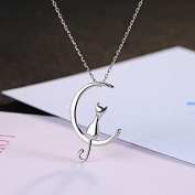 truecharms 925 Sterling Silver Moon Cat Pendant Necklaces Chain Gift For Womens and Girls