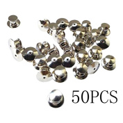 iBuy365 50 Pieces silver Locking Pin Keepers Backs for Your Favourite Collectibles & Pin Trading - No Tool Required.