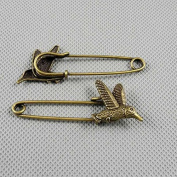 20 PCS Jewellery Making Charms Findings Supply Supplies Crafting Lots Bulk Wholesale Antique Bronze Tone Plated 83053 Hummingbird Safety Pins Brooch