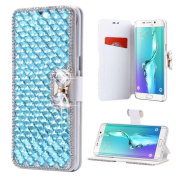 Galaxy S7 Edge Wallet Case,Inspirationc® and Made Luxury 3D Bling Crystal Rhinestone Leather Purse Flip Card Pouch Stand Cover Case for Samsung Galaxy S7 Edge--Light Blue