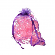Beadthoven 100pcs Organza Bags, Drawstring Pouch Favour Bags, Gift Package, Rectangle with Butterfly Pattern, DarkViolet, 90x70mm