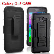 Galaxy On5 Case, Samsung Galaxy On5 Case, Asstar Shockproof Hybrid Heavy Duty Protective S7 Case with Built-in Rotating Kickstand Swivel Belt Clip Holster Cover for Galaxy S7, Black