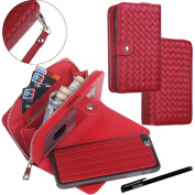 iPhone 6 Plus / iPhone 6S Plus Case, Urvoix(TM) Woven Skin Leather Zipper Wallet Detachable/Separable Magnetic Back Shell Cover w/ Hand Strap, Card Slots for iPhone6 Plus/6S Plus(14cm Screen) RED