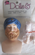 "MANGELSEN'S Craft PACK of 1 SET of PORCELAIN ""WISEMAN"" DOLL HEAD 7.6cm - 0.3cm w BLUE 'Turban' HAT and PAIR of HANDS Each 5.1cm - 0.6cm Long"