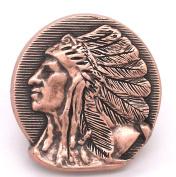 Left Facing Chief Head Concho Antique Copper 2.5cm - 1.3cm 3667-10