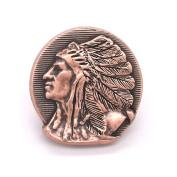 Left Facing Chief Head Concho Antique Copper 2.5cm - 0.6cm 3665-10