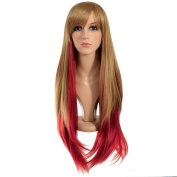 Ecvtop 70cm Long Straight Hair Red and Gold Two Tone Ombre Fibre Synthetic Wigs with Free Wig Cap and Wig Comb