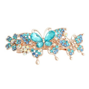 GSM Accessories Womens Rhinestone Mother Daughter Butterflies Large Size Alloy Hair Clips Barrettes HC205-Blue