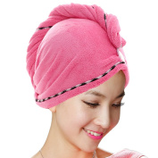 Jack & Rose Microfiber Hair Towel Premium Hair Drying Towel Super Absorbent for Different Hairstyles 23.5 * 25cm Rose Red