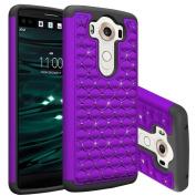 LG V10 Case, AutumnFall® Heavy Duty Hybrid Black Silicone Cover Hard Rhinestone Studded Bling Design Case for LG V10