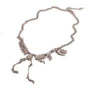 Doinshop Alloy Dinosaur Skeleton Chain Necklace Tyrannosaurs T-Rex Collar Jewellery