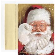 Masterpiece Studios Sparkling Santa, 18 Cards/18 Foil Lined Envelopes