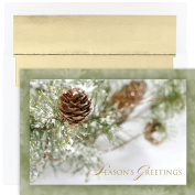 Masterpiece Studios Winter Pinecone, 18 Cards/18 Foil Lined Envelopes