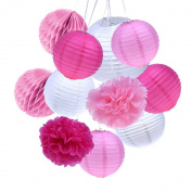 Outus 11 Pieces Paper Crafts Tissue Paper Lanterns Honeycomb Balls Paper Pom Poms for Birthday Wedding Party Decoration
