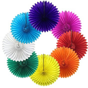 Just Artefacts 30cm Hanging Tissue Paper Medallion - (30cm , Rainbow Assorted, Set of 8) Great for Party Decorations, Weddings, Birthdays, Baby Showers and More!
