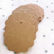 Zadaro 100pcs Brown Kraft Paper Hang Tags Marked Blank Card Price Gift Wedding Favour Label with hole