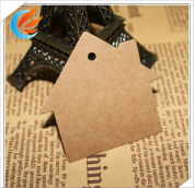 100pcs Brown Kraft Paper House Marked Blank Card Hand Draw Paper Tags Clothes Toy Labelled Card Model+20M String