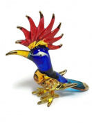 TINY CRYSTAL WOODPECKER HAND BLOWN CLEAR GLASS ART BIRD FIGURINE ANIMALS GLASS BLOWN FBM