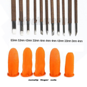 Black Menba® 11PCS Manganese Steel Stone Carving Chisel Engraving Knife Tools come with 1 Burins holder & 5 Rubber spot Nonslip Finger Cots