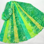 Bali Batik Jelly Roll 14 Fabric Strips 6.4cm x 110cm Yellow Green Aqua