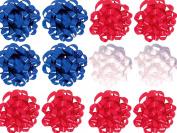 Decorative Confetti Gift Bows, Medium, Patriotic Colours, White, Red, Blue (12/pkg) Pkg/1