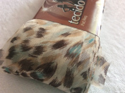 Circulo Tecido Trico Fabric Ruffling Scarf Yarn #2637 Leopard Print with Teal Accents