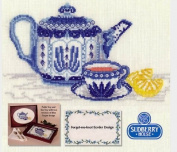 Blue Teapot with For-get-me-not Border Counted Cross Stitch Kit