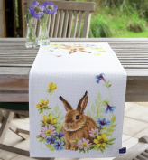 Vervaco Table Runner Rabbit in Flowers Cross Stitch Kit