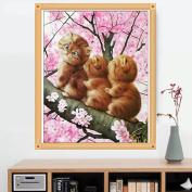 MEXUD-New 5D Three Kitten Cat DIY Cross Stitch Painting Diamond Embroidery Home Decor