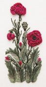 Chinese Poppy - Edmar kit #1706, Brazilian embroidery KIT, Black Fabric
