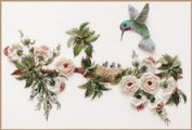 English Rose & Hummingbirds - Edmar kit #1606, Brazilian embroidery KIT, Cream Fabric