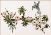 English Rose & Hummingbirds - Edmar kit #1606, Brazilian embroidery KIT, Cream Fabric