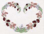 Iris Heart - EdMar kit #1041, Brazilian embroidery KIT, White Fabric