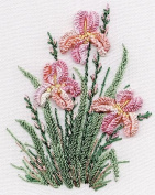 Irises - Edmar kit #1423, Brazilian embroidery KIT, White Fabric