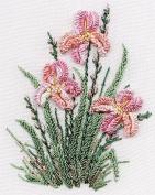 Irises - Edmar kit #1423, Brazilian embroidery KIT, White Fabric