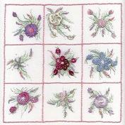 Nine Flower Sampler 1 - Edmar kit #1821A, Brazilian embroidery KIT, Black Fabric