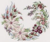 Utopia Wreath - EdMar kit #1038, Brazilian embroidery KIT, Black Fabric