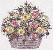 Daisy Basket - EdMar kit #1034, Brazilian embroidery KIT, White Fabric