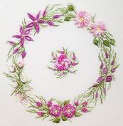 Spring Wreath - EdMar kit #1031, Brazilian embroidery KIT, Black Fabric