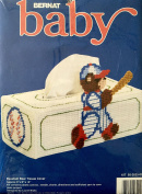1991 Bernat Baby Plastic Canvas Needlepoint Kit W26250 Baseball Bear Tissue Box Cover