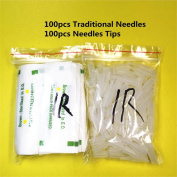 GD 100Pcs 1R needles and 100pcs 1R tips For Permanent Makeup Traditional Tattoo Needles Independent Package