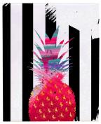 Positively Home PreppyPine_Pink_3 Preppy Pineapple Watercolour on Wrapped Canvas, 60cm X 90cm , Pink,60cm X 90cm