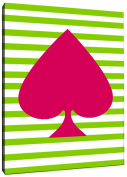 Positively Home AceSpadesCanvas_Pink_1 Ace of Spades Navy Graphic Art on Wrapped Canvas, 28cm X 36cm , Pink,28cm X 36cm