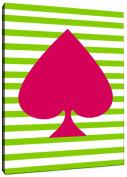 Positively Home AceSpadesCanvas_Pink_1 Ace of Spades Navy Graphic Art on Wrapped Canvas, 28cm X 36cm , Pink,28cm X 36cm