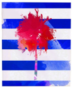 Positively Home TriniPalmCanvas_Pink_2 Trinidad Palm Tree Watercolour on Wrapped Canvas, 41cm X 50cm , Pink,41cm X 50cm