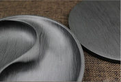 Easyou She Yan Taiji Ink Stone Chinese Calligraphy Round Inkstone Bagua Natural Stone Wavy with Cover 13cm