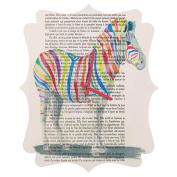 DENY Designs Coco De Paris Rainbow Zebra Quatrefoil Clock, Small